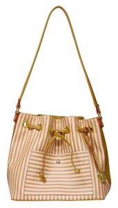 fbb88ed7f Bolsa Monica Sanches 3035 – Se a sua namorada gosta de listas, este modelo  de bolsa saco é o ideal. O acessório é todo estampado com linhas finas que  variam ...