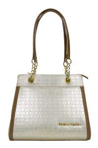 Bolsa feminina de ombro ou de mão cor em cromo/prata com detalhes marrom.